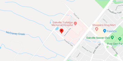 A piece of Google Map with the location of Oakwood Health Network Clinic in Oakville